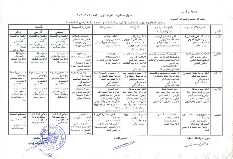 جدول محاضرات ( الفرقة الأولى ـ مرحلة الدبلوم ) العام الدراسي 2020-2021.