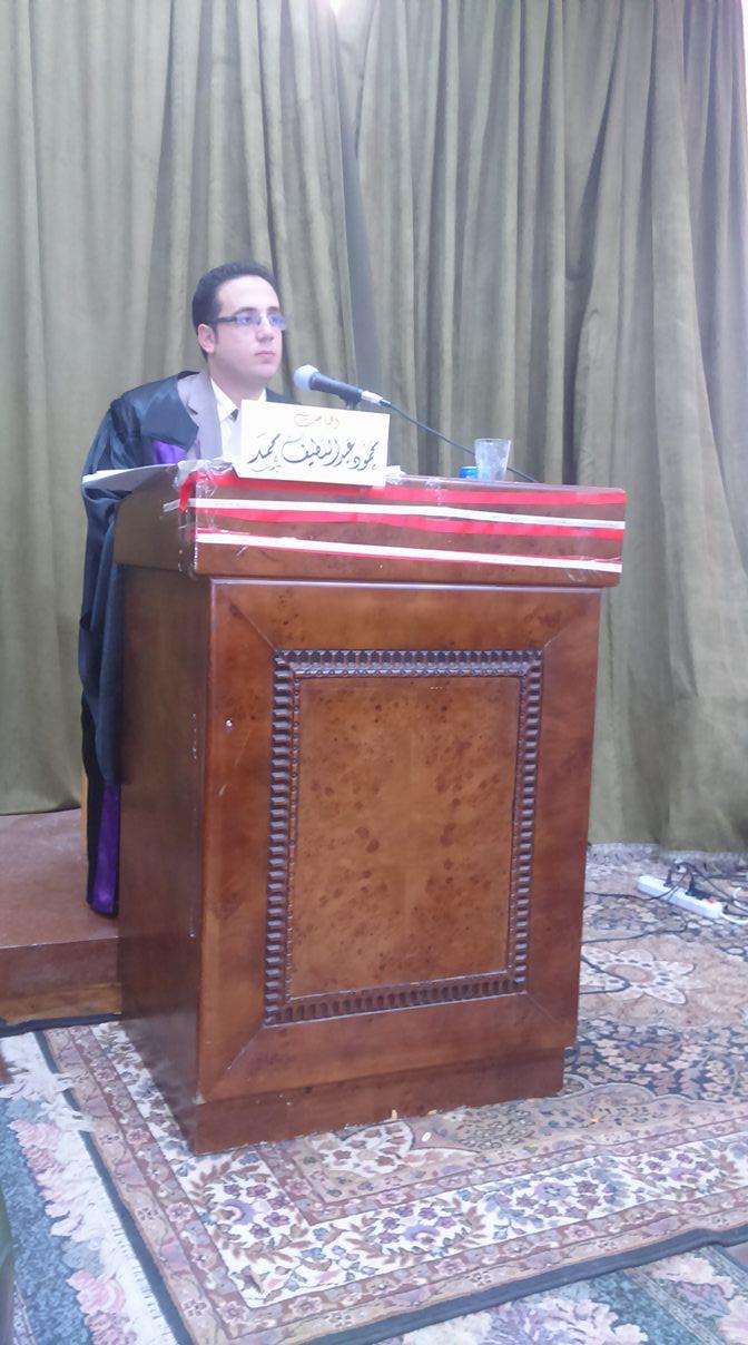 مناقشة رسالة ماجستير للباحث/محمود عبداللطيف المعيد بقسم الاعلام